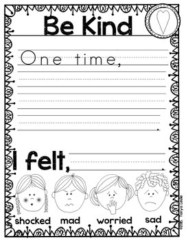 Social Stories:  Be Kind  {Writing and Cause and Effect}