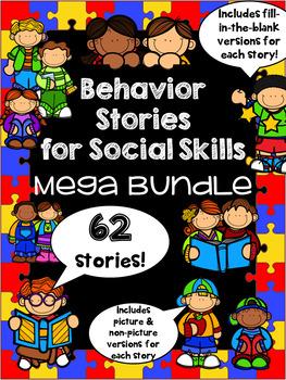Social Stories Mega Bundle - 62 stories! EDITABLE! Autism, HFA, ASD, Speech Tx