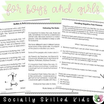 SOCIAL STORIES 10 One Page Social Stories {Upper Elementary - Middle School}