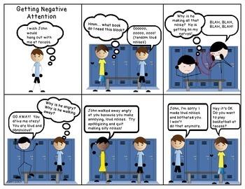 Social Skills Comic Strips for Social Stories No Prep Print and Go