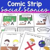 Social Skills Comic Strips for Social Stories No Prep Print & Go
