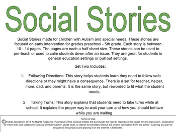 Social Stories for Autism or Special Needs: Following Directions, Taking Turns