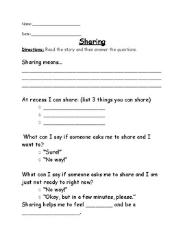 Social Stories with Comprehension Worksheets and Data Sheets