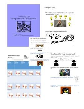 Social Story Life Skills Vocational CBI Asking For Help at School/Job Autism/ELD