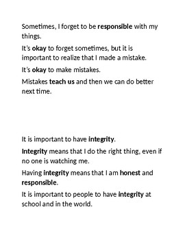 Social Story: Being Honest and Responsible