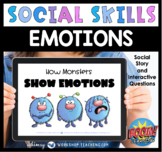 Social Story Boom Cards Monsters Showing Emotions SEL Distance Learning
