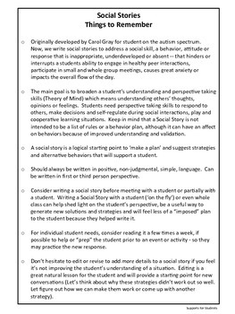Social Story Cheat Sheet, Social Skills, Teacher Tool