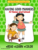 Social Story MANNERS Coloring Book with FREE Worksheets for AUTISM