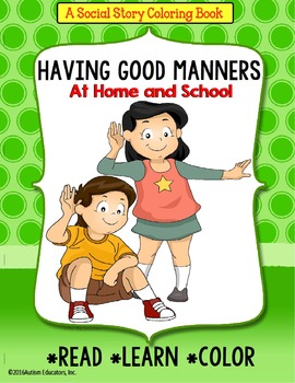 Social Story MANNERS Coloring Book with FREE Worksheets fo