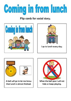 Social Story - Coming in from lunch - flip cards