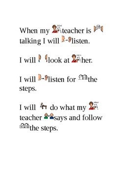 "Social Story ""Do What the Teacher Says"""