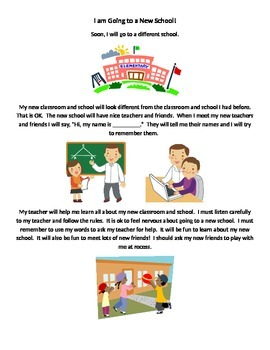 Social Story:  Going to a New School