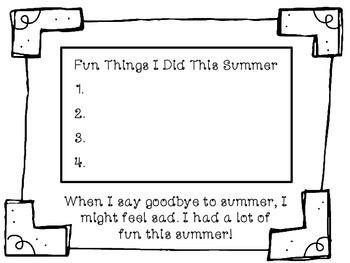 Social Story: Goodbye Summer