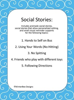 Social Story - Hands to self Bus, Hitting, Spitting, Friends, Follow Directions