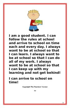 """Social Story- """"I Can Arrive To School On Time"""""""