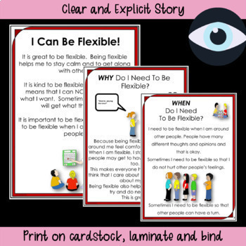 SOCIAL STORY + ACTIVITY~ I Can Be Flexible! {For 3rd-5th Grade/Ability}