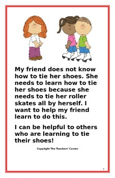 """Social Story- """"I Can Be Helpful to Others Who Are Learning to Tie Their Shoes"""""""