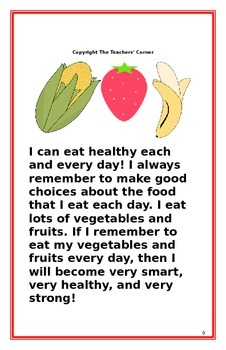"""Social Story- """"I Can Eat Healthy"""""""