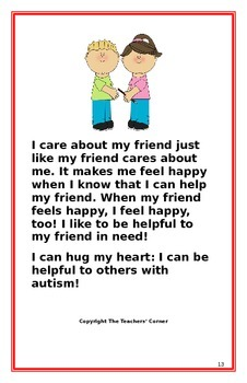 """Social Story- """"I Can Be Helpful to My Friend with Autism"""""""