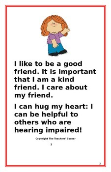 """Social Story- """"I Can Be Helpful to My Friend who is Hearing Impaired"""""""