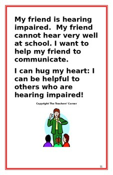 "Social Story- ""I Can Be Helpful to My Friend who is Hearing Impaired"""