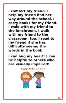 """Social Story- """"I Can Be Helpful to My Friend who is Visually Impaired"""""""