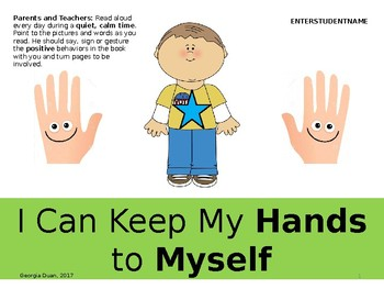 Social Story: I Can Keep My Hands to Myself (Boy)