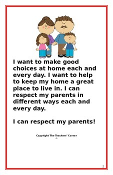 "Social Story- ""I Can Respect My Parents"""