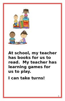 "Social Story- ""I Can Take Turns"": A Better Behavior Booklet"