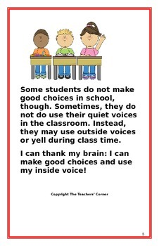 """Social Story- """"I Can Use My Inside Voice"""": A Better Behavior Booklet"""