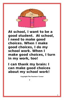 "Social Story- ""I Can Do My School Work"":A Better Behavior Booklet"