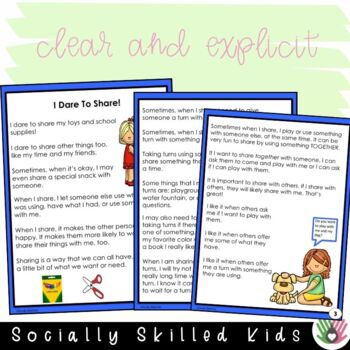 SOCIAL STORY: I Dare To Share! {k-2nd Grade or Ability}