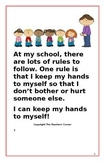 """Social Story- Interactive Style:  """"I Can Keep My Hands to Myself"""""""