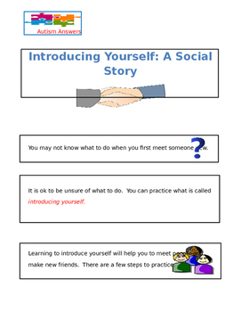 Social Story- Introducing Yourself