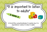 """Social Story: """"It is important to listen to adults"""""""