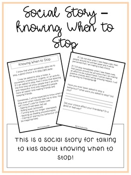 Social Story - Knowing When to Stop