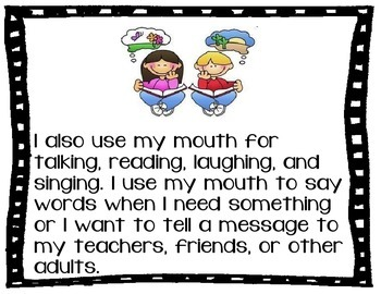 Social Story Mouth, Biting, Chewing ASD Autism
