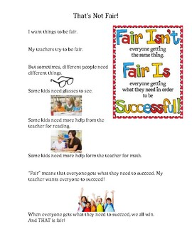 Social Story Narrative: Fair Means Everyone Gets What They Need