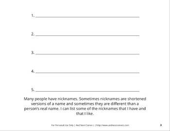 Social Story: Nicknames & Name-Calling