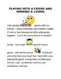 """Social Story """"PLAYING WITH A FRIEND AND WINNING & LOSING"""""""