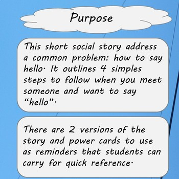 Saying Hello  Social Stories and Power cards
