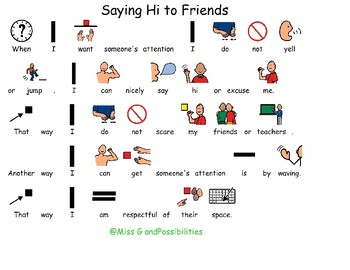 Social Story Saying Hi To Friends