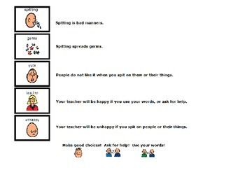 Social Story:  Spitting  - Great Tool for Those on the Autism Spectrum