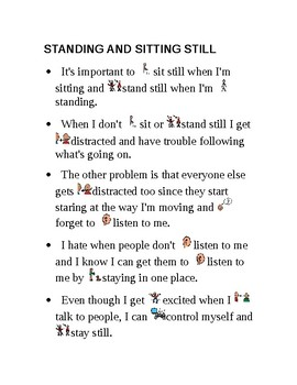 """Social Story """"Standing and Sitting Still"""""""