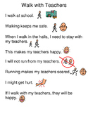 Social Story - Staying with my teacher in the hallway (no