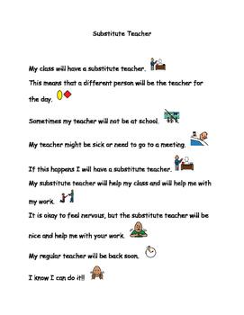 Social Story- Substitute Teacher (Autism)