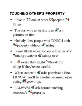 """Social Story """"TOUCHING OTHER'S PROPERTY"""""""
