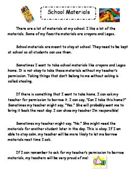 Social Story - Taking School Materials