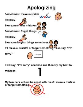 Social Story - Too Many Apologies