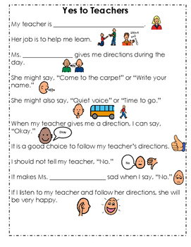 Social Story - Yes to Teachers